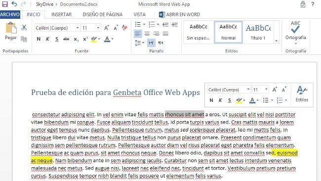 Office Web Apps añade cuatro nuevas características de edición