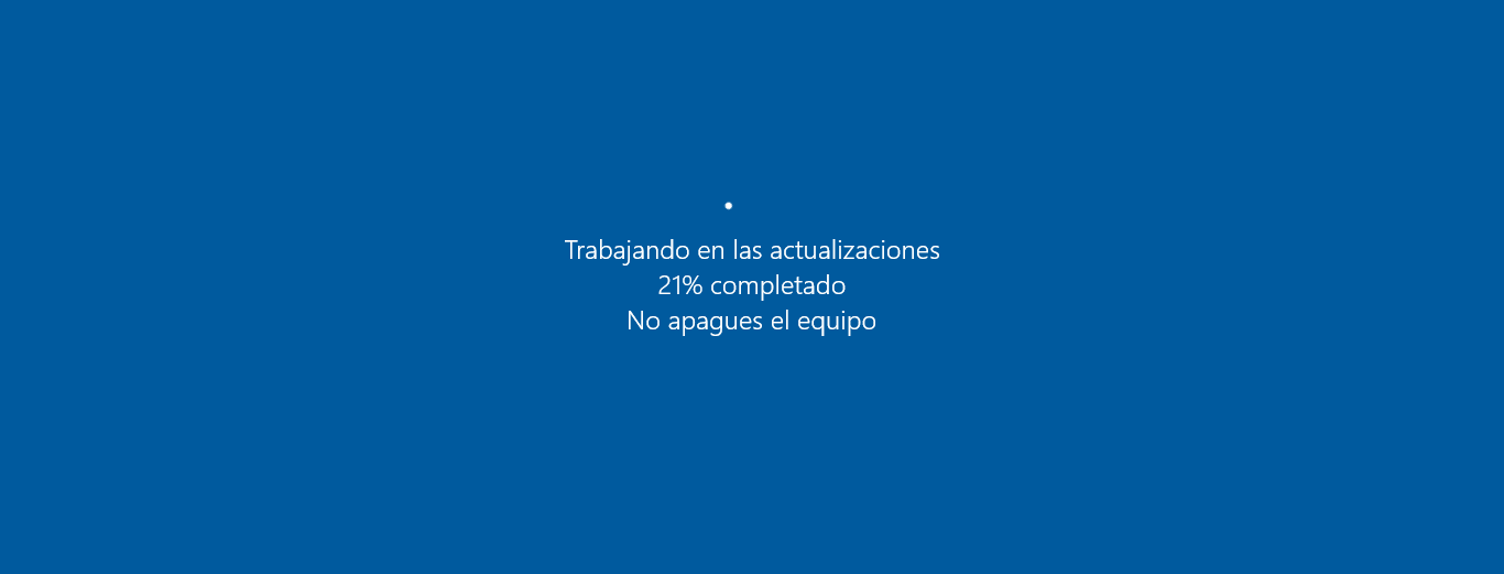 Pantalla de actualizacion de Windows