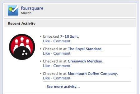 Foursquare en Facebook Timeline
