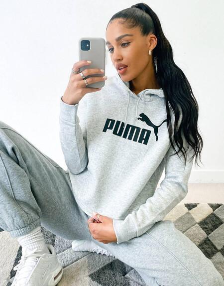 Sudadera Corta Gris Con Capucha Y Logo De Puma Essentials