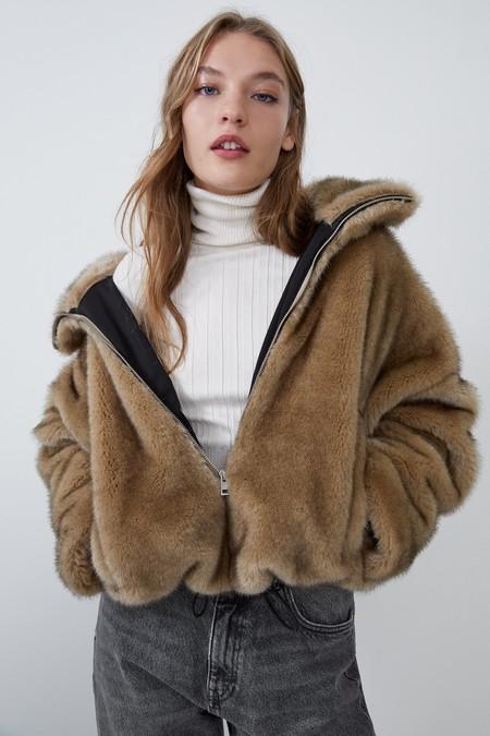 Zara Abrigo Peluche Otono 2019 21