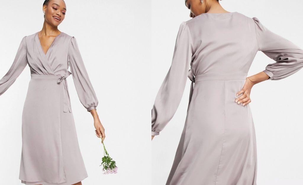 Vestido midi gris de dama de honor de diseño cruzado y manga larga de TFNC