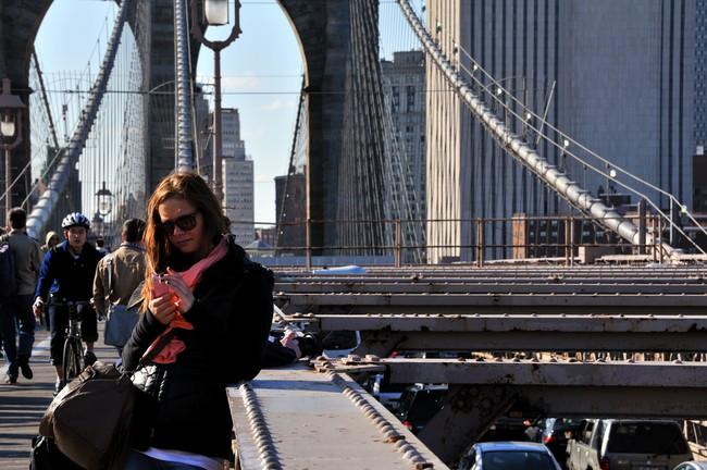 Texting At Brooklyn Bridge