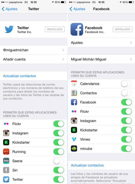 iOS 7 Twitter Facebook