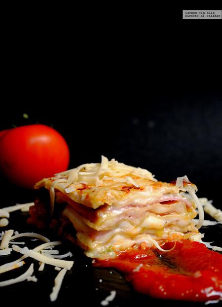 Lasaña de jamón, queso y pesto