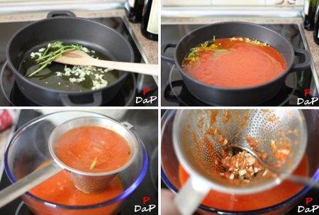 Paso a paso de la elaboración de la salsa de tomate ultra rápida