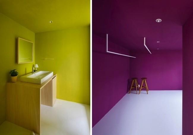 Baño Pintado De Verde:Un loft en un viejo almacén de Japón que juega con el blanco y los