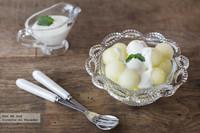 Bolitas de melón con yogur a la menta. Receta
