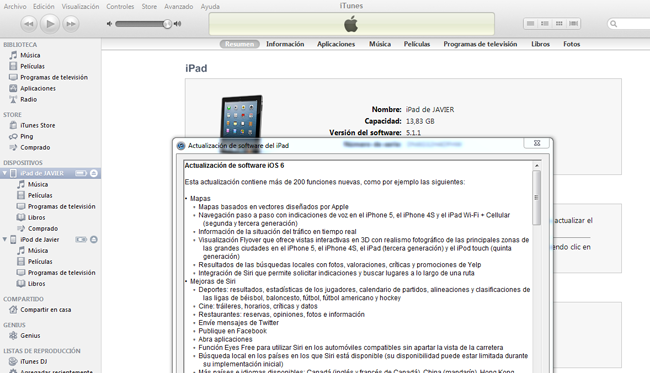 iOS 6 disponible