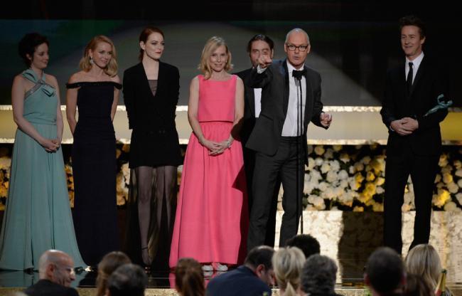 Los protagonistas de Birdman con el premio al mejor reparto en los SAG Awards