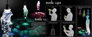 Lámparas hechas con botellas de plástico retorcidas