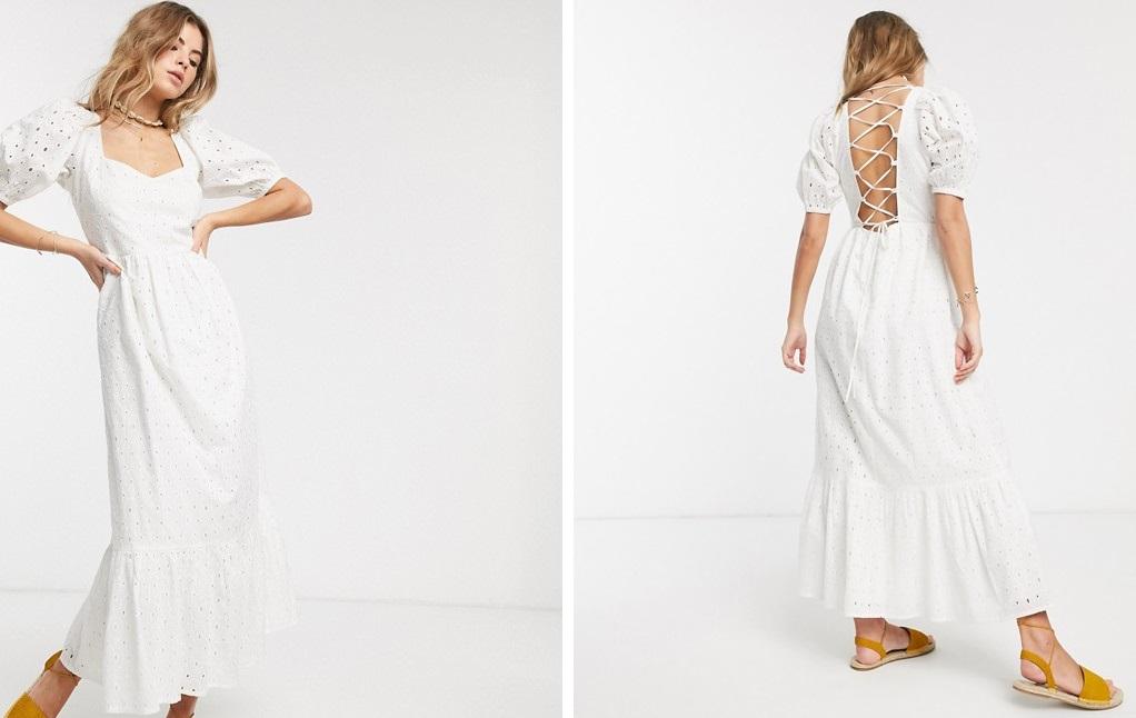 Vestido con bordado inglés y espalda abierta