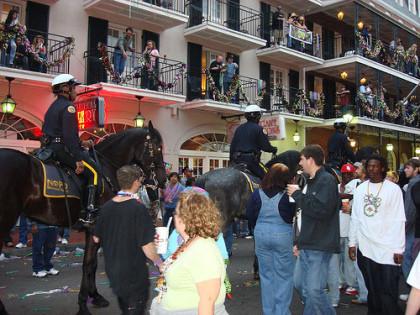 Policía montada durante el Mardi Gras