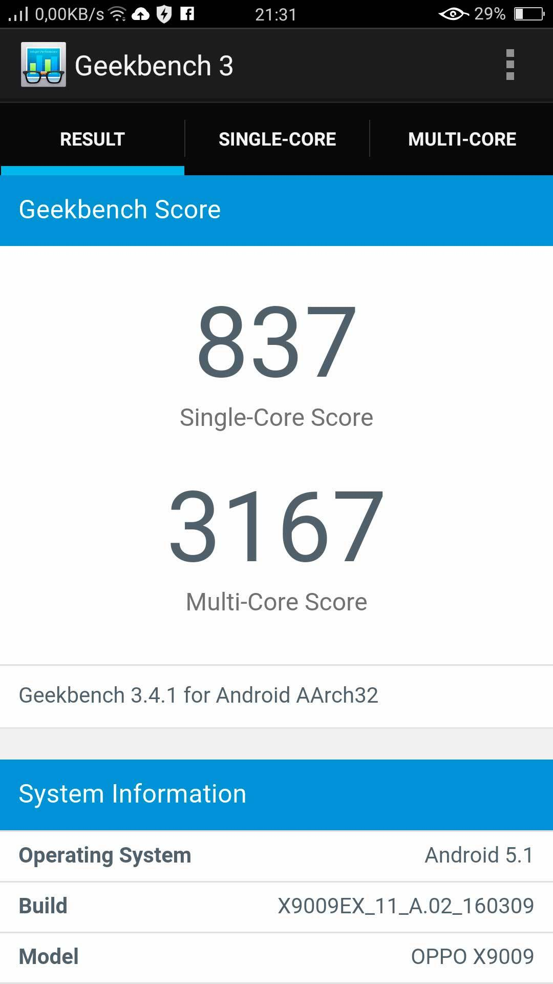 Benchmarks Oppo F1 Plus