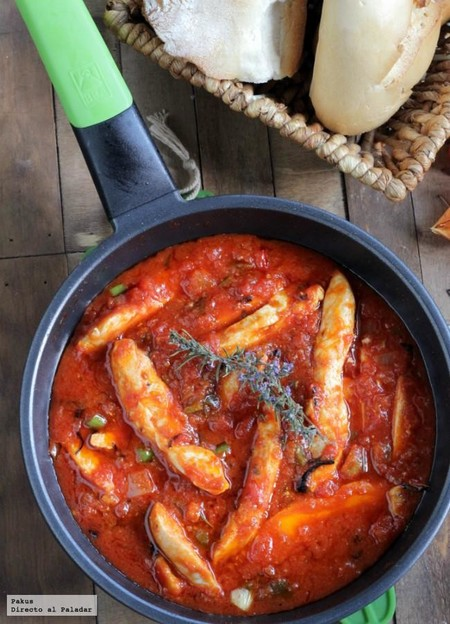 pollo con salsa de tomate picante
