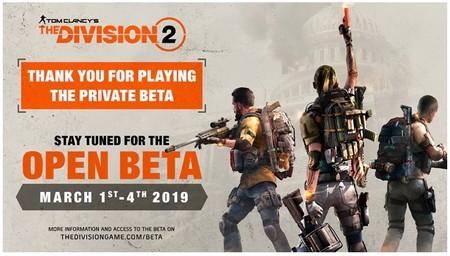 La beta abierta de The Division 2 comienza el 1 de marzo