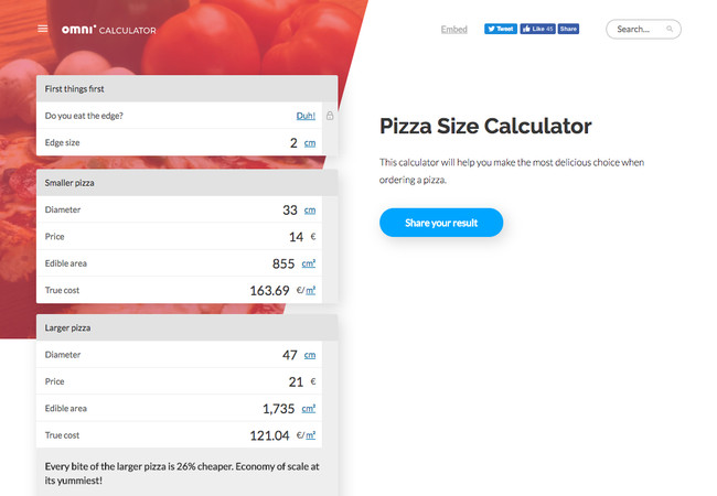 Pizza Size Calculator