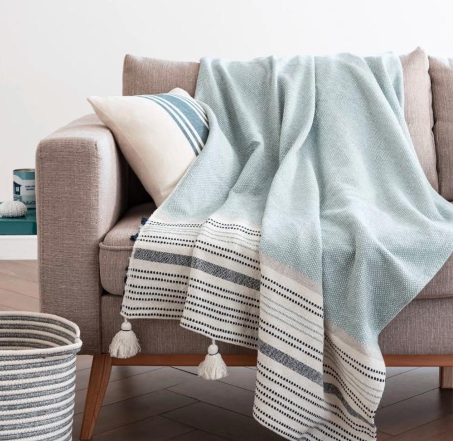 Manta de algodón con rayas azules y color crudo 130x170