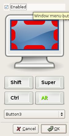 Compiz Fusion configurando combinaciones de teclado/raton