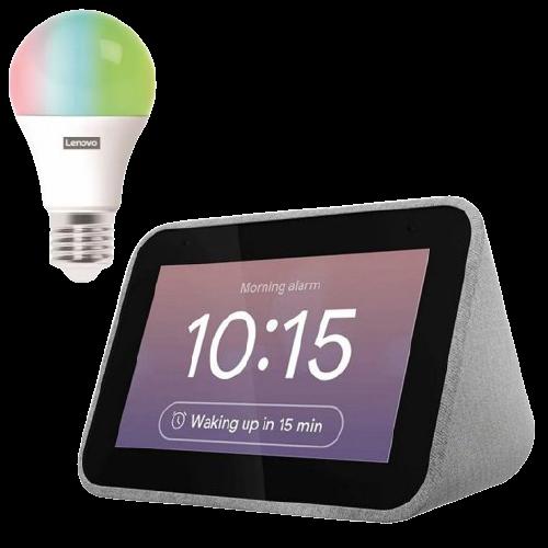 Lenovo Pack Smart Clock Reloj Despertador Inteligente con Asistente de Google Gris + Smart Bulb LED