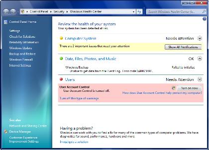 Centro de Salud de Windows 7