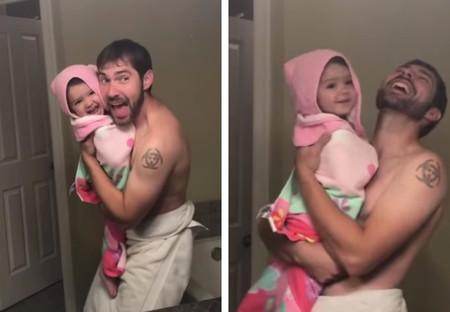 El playback más tierno de un padre y su hija cantando y bailando 'Girls Like You' de Maroon 5 frente al espejo