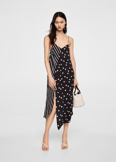 Modelos de vestidos combinados blanco con negro