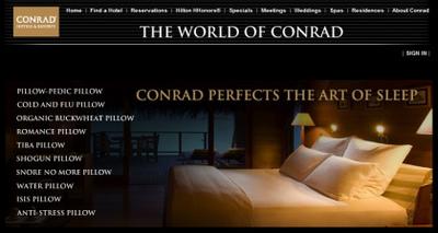 Conrad Hotels: menú de 75 almohadas diferentes