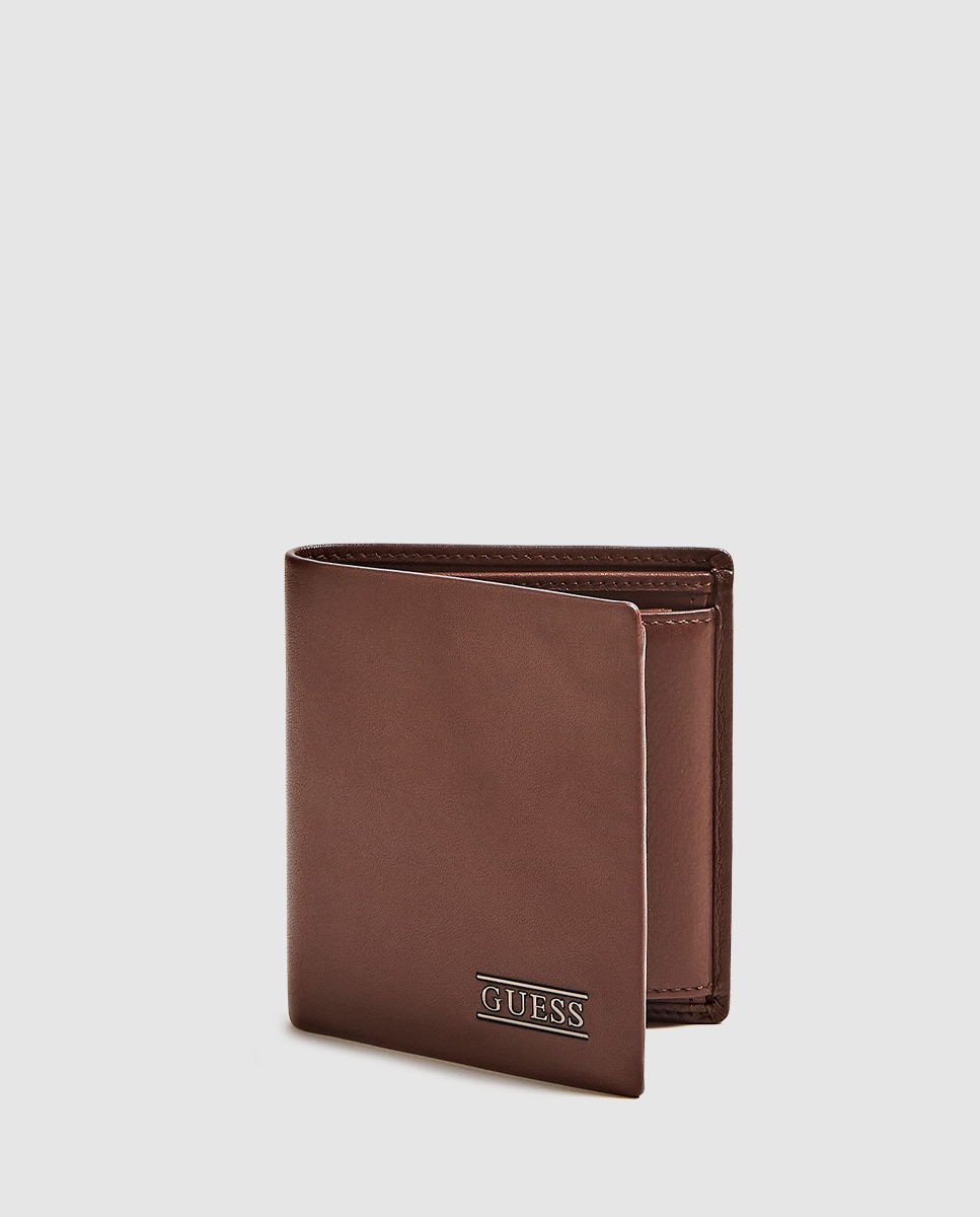 Cartera vertical de hombre Guess de piel en marrón liso con monedero