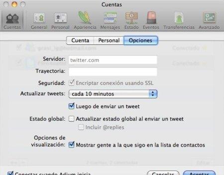 Opciones de Twitter en Adium