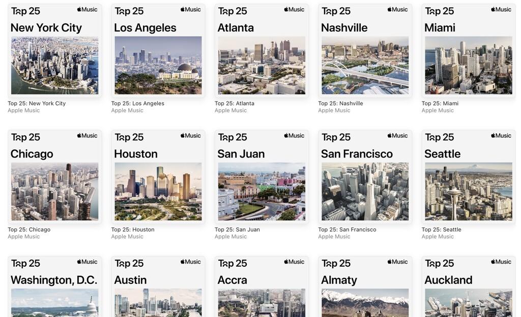 Las listas de top 25 canciones por ciudad de Apple™ Music ya están disponibles
