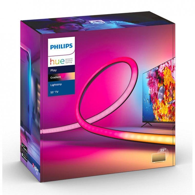 """Philips Hue Play Gradient Lightstrip, Tira LED para TV de 55"""", 6500 K, Luz blanca y color"""