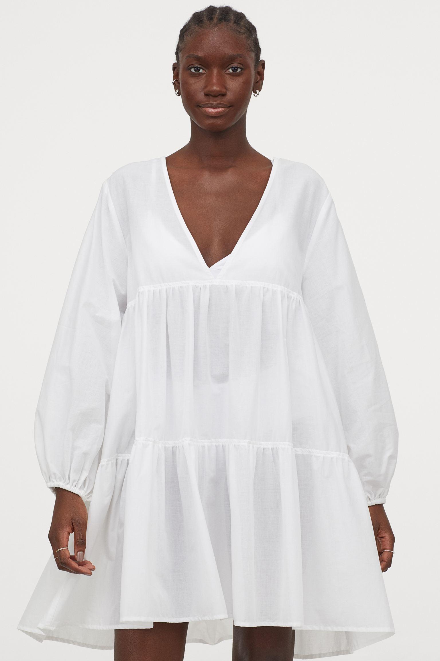 Vestido blanco popelina H&M