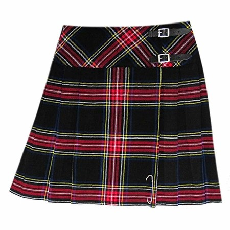 Tartanista - Kilt/Falda Escocesa Cruzado hasta la Rodilla Mujer - 50 cm - Black Stewart - EU38 UK10