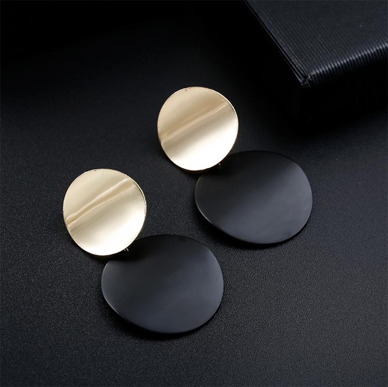 Moda 2019 pendientes de Clip no perforados oro negro Metal redondo disco declaración Clips para las mujeres Bijoux Brincos fiesta regalo