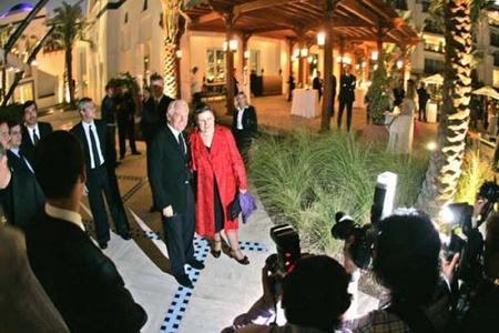 Suzy Menkes y Giorgio Armani en Dubai