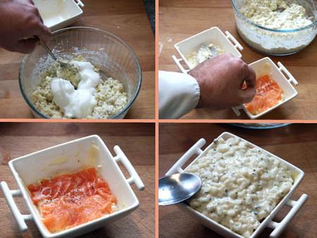 timbal de arroz y salmón paso a paso