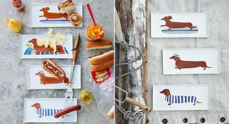 Simpáticos platos con perros salchicha para servir tus perritos calientes