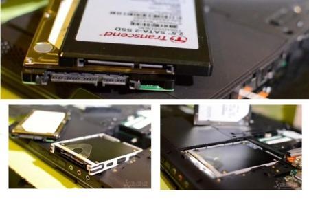 Instalación de la unidad SSD en el lugar del HD