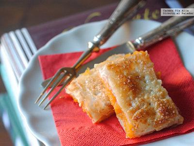 Bocaditos de hojaldre y dulce de boniato al agua de azahar. Receta