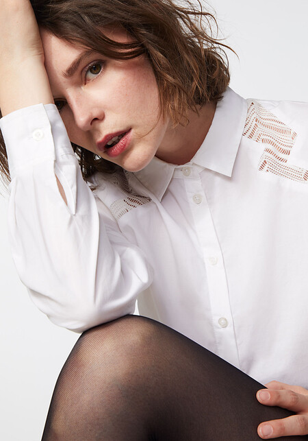 Ikks Chemise En Popeline Stretch Empiecements Resille Femme Br12095 01 1 1Camisa de popelina stretch piezas rejilla mujer