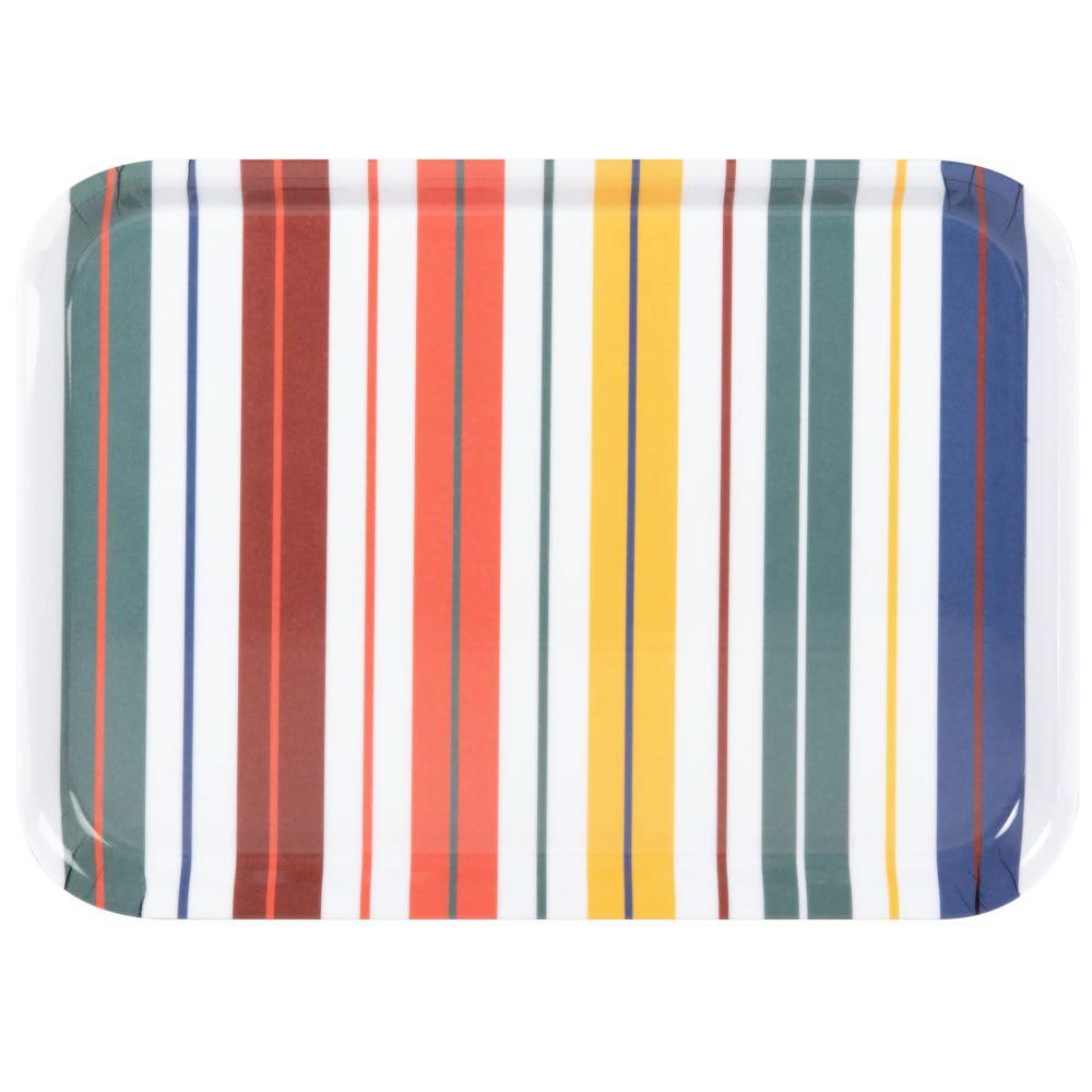Bandeja de melamina con motivos de rayas multicolores - Lote de 3
