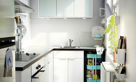 Crisp White Scandinavian Kitchen With Colorful Accents