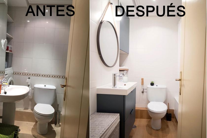El Antes y después de un cuarto de baño (con lavadora ...