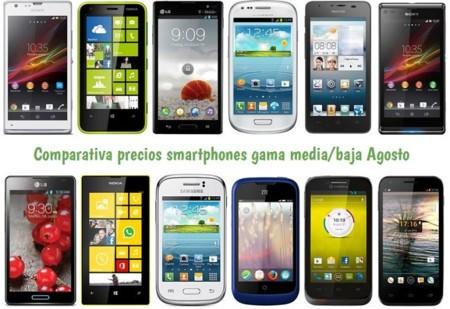 Comparativa Precios Smartphones más baratos Agosto 2013