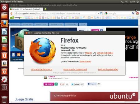 Ubuntu 12.10 con Firefox 16