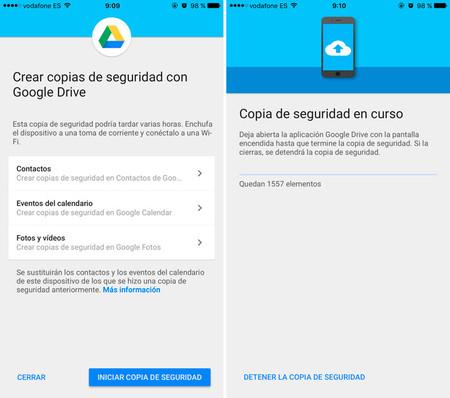 Google Drive cambiar de iOS a Android