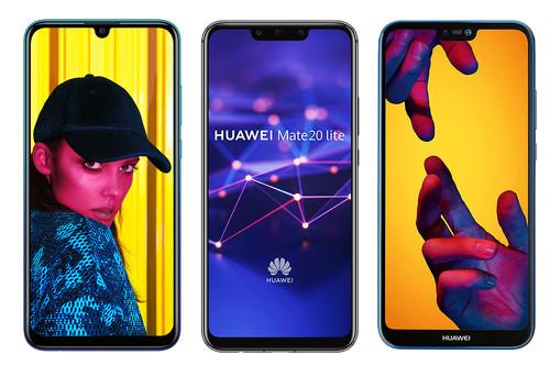Así queda el Huawei P Smart 2019 contra la gama media Huawei: Mate 20 Lite, P20 Lite y P Smart+