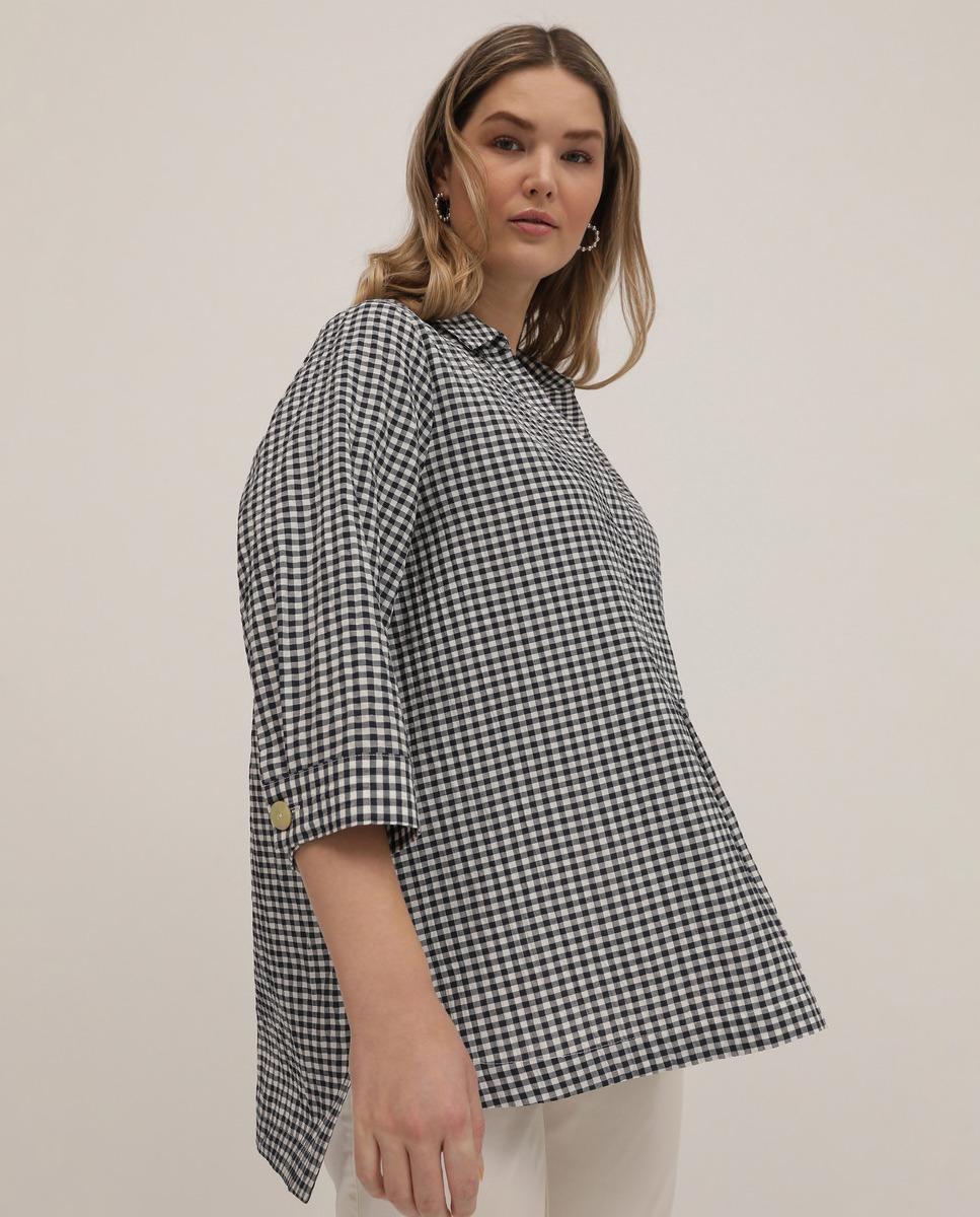 Blusa de mujer talla grande de cuadros vichy y manga francesa de Couchel