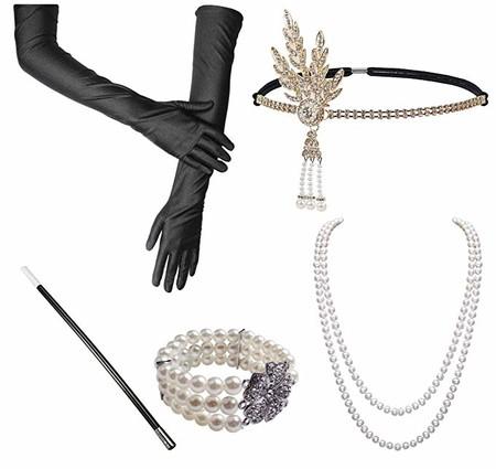 Gran traje de Gatsby Accesorios de la década de 1920 Conjunto de soporte de plástico Perlas Negro Largo Guantes Pulseras Pendientes Titular de cigarrillo